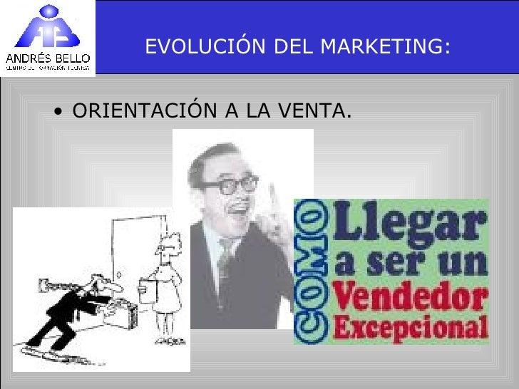 EVOLUCIÓN DEL MARKETING: <ul><li>ORIENTACIÓN A LA VENTA. </li></ul>