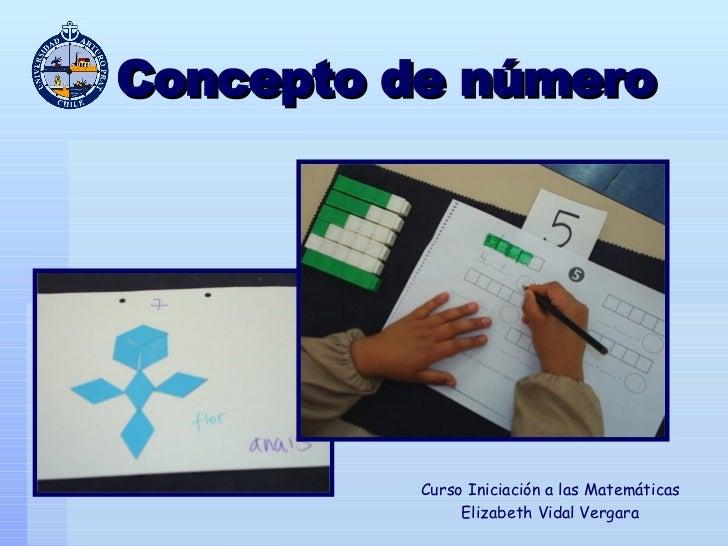 Concepto de número Curso Iniciación a las Matemáticas Elizabeth Vidal Vergara