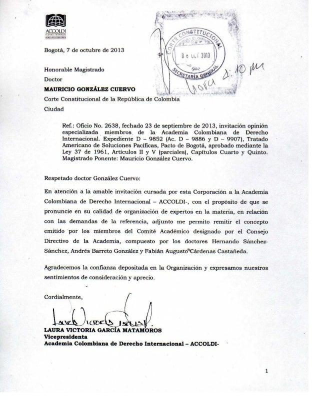Concepto Accoldi Pacto de Bogotá Corte Cosntitucional