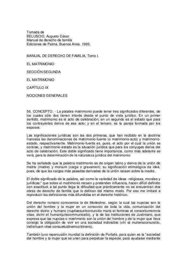 Tomada deBELUSCIO, Augusto CésarManual de derecho de familiaEdiciones de Palma, Buenos Aires. 1995.MANUAL DE DERECHO DE FA...