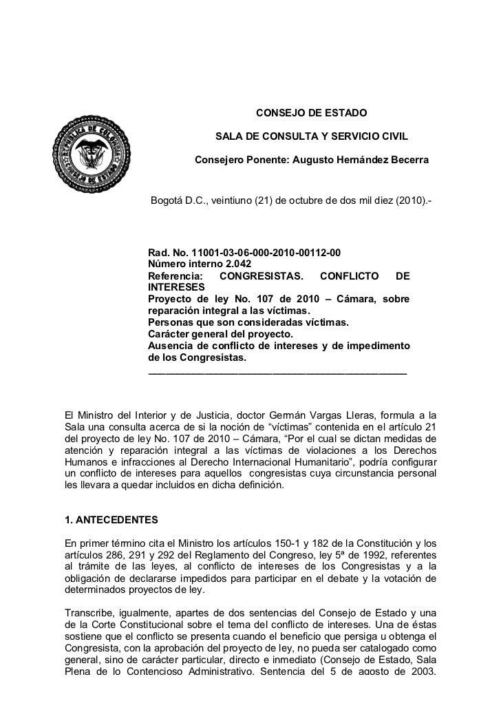 CONSEJO DE ESTADO                                    SALA DE CONSULTA Y SERVICIO CIVIL                               Conse...