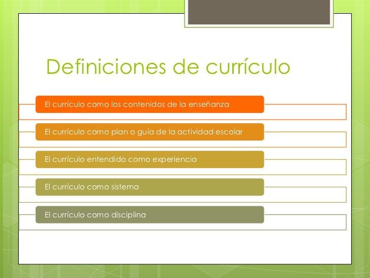 Definiciones de currículoEl currículo como los contenidos de la enseñanzaEl currículo como plan o guía de la actividad esc...