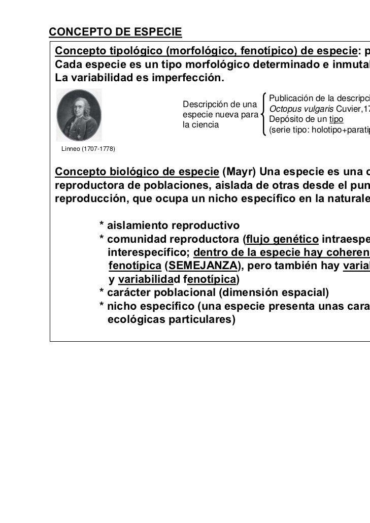 CONCEPTO DE ESPECIEConcepto tipológico (morfológico, fenotípico) de especie: pre-darwinista.Cada especie es un tipo morfol...