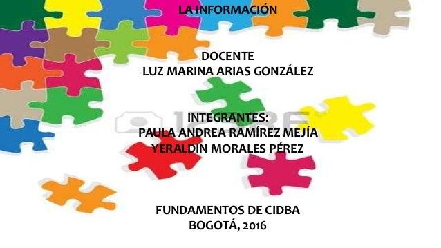 LA INFORMACIÓN DOCENTE LUZ MARINA ARIAS GONZÁLEZ INTEGRANTES: PAULA ANDREA RAMÍREZ MEJÍA YERALDIN MORALES PÉREZ FUNDAMENTO...