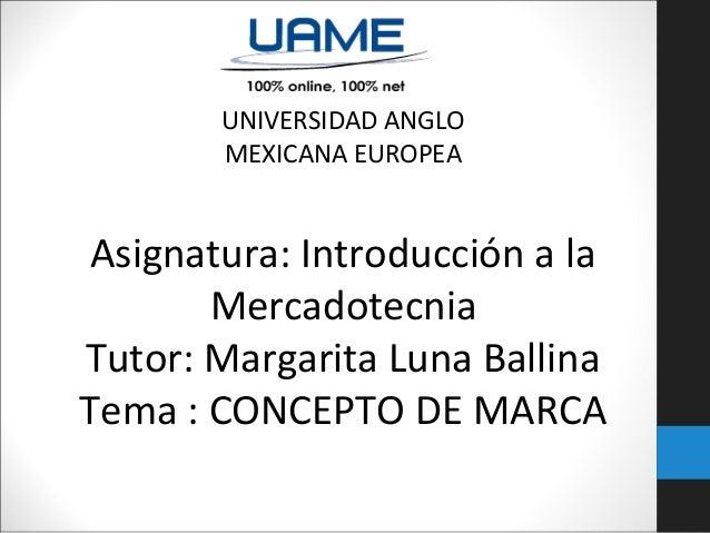 UNIVERSIDAD ANGLO MEXICANA EUROPEA  Asignatura: Introducción a la Mercadotecnia Tutor: Margarita Luna Ballina Tema : CONCE...