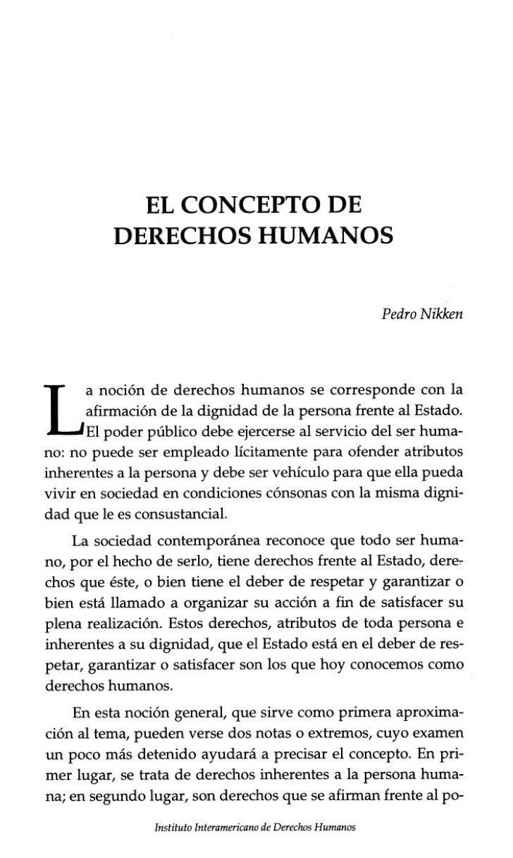 EL CONCEPTO DE   DERECHOS HUMANOS                                                               Pedro Nikken     noción de...