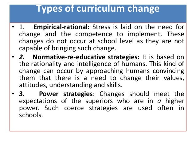 curriculum change