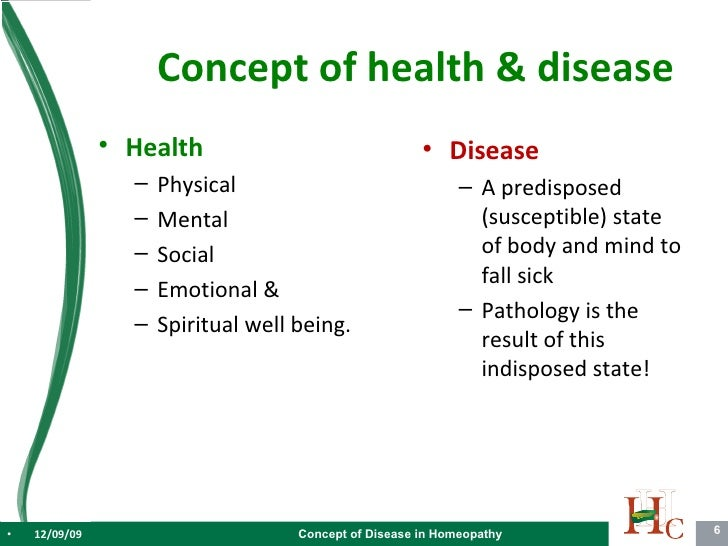 Concept Of Disease In Homoeopathy V1.2