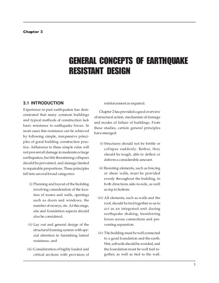 GENERAL CONCEPTS OF EARTHQUAKE RESISTANT DESIGNChapter 3                              GENERAL CONCEPTS OF EARTHQUAKE      ...