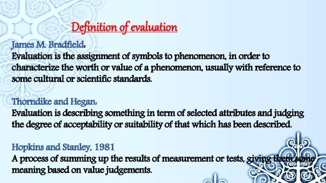 Concept Of Evaluation