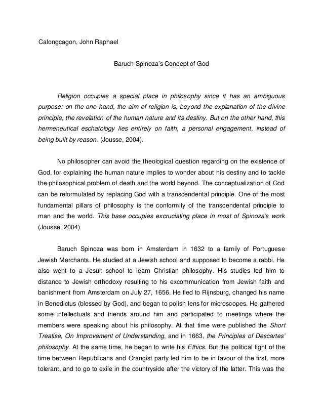 An essay on spinoza and the concept of god
