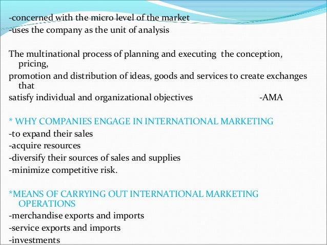 international marketing concepts International marketing presents an innovative, integrated approach, in which marketing concepts are explored in depth within the international context.