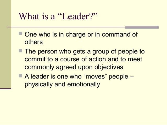 Concept of a leader