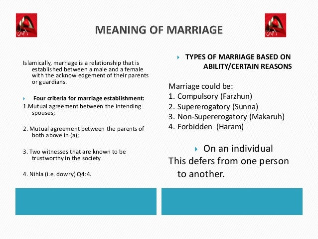 concepts of islamic marriage Getting to know someone and making the informed decision to marry them is not  an alien concept in islamic societies abdullah al-arian, a.