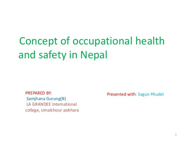 Concept of occupational healthand safety in Nepal1PREPARED BY:Samjhana Gurung(B)LA GRANDEE Internationalcollege, simalchou...
