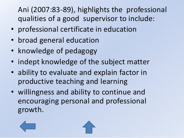 qualities of a good supervisor in education