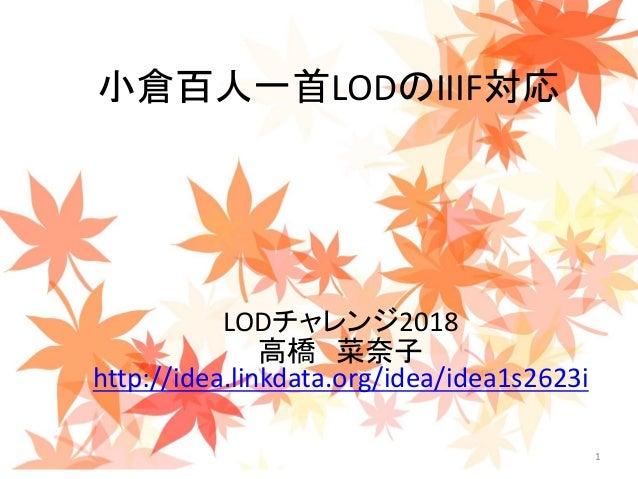 1 小倉百人一首LODのIIIF対応 LODチャレンジ2018 高橋 菜奈子 http://idea.linkdata.org/idea/idea1s2623i