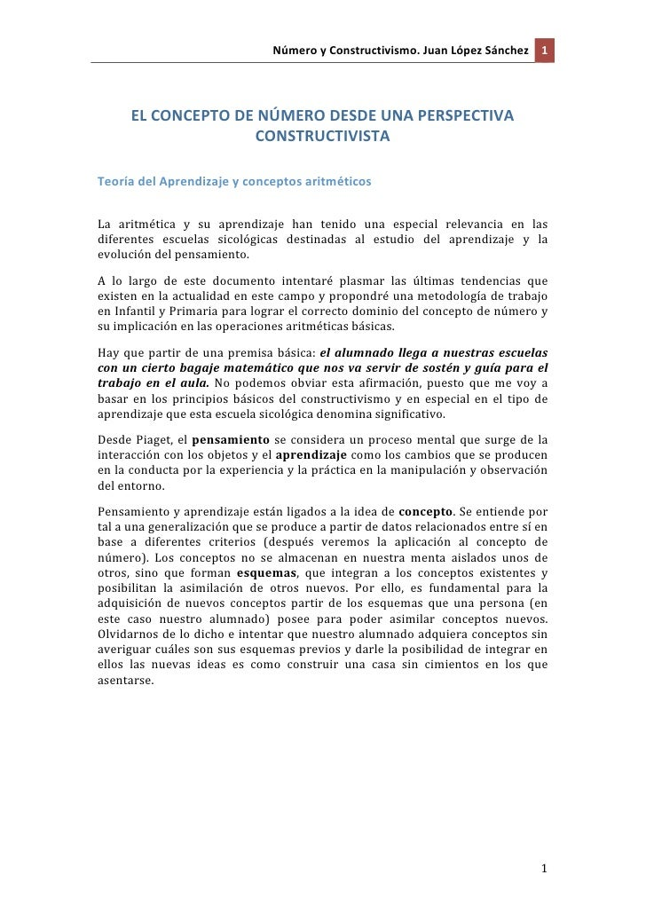 NúmeroyConstructivismo.JuanLópezSánchez 1      ELCONCEPTODENÚMERODESDEUNAPERSPECTIVA                    CON...
