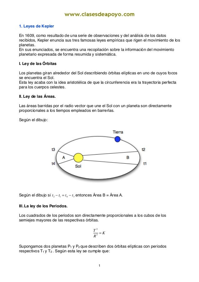 1. Leyes de Kepler En 1609, como resultado de una serie de observaciones y del análisis de los datos recibidos, Kepler enu...