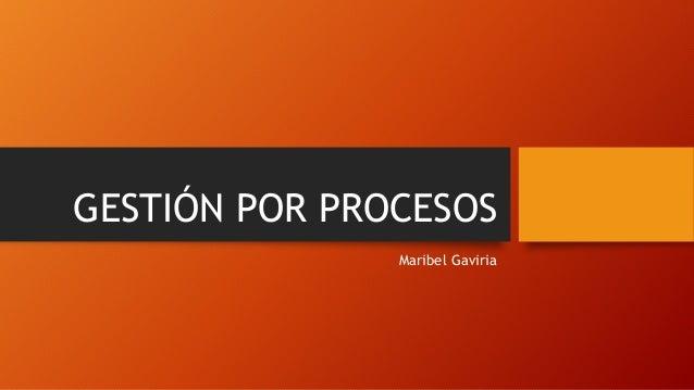 GESTIÓN POR PROCESOS Maribel Gaviria