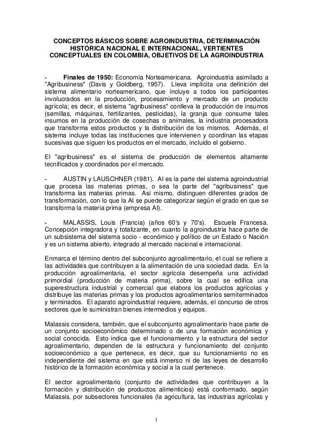 CONCEPTOS BÁSICOS SOBRE AGROINDUSTRIA, DETERMINACIÓN HISTÓRICA NACIONAL E INTERNACIONAL, VERTIENTES CONCEPTUALES EN COLOMB...