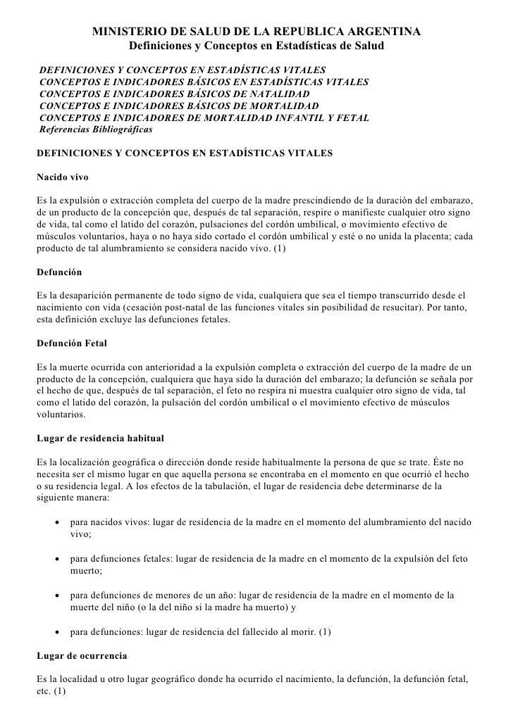 MINISTERIO DE SALUD DE LA REPUBLICA ARGENTINA                    Definiciones y Conceptos en Estadísticas de Salud  DEFINI...