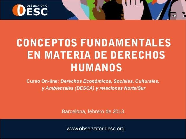 CONCEPTOS FUNDAMENTALES  EN MATERIA DE DERECHOS         HUMANOS Curso On-line: Derechos Económicos, Sociales, Culturales, ...