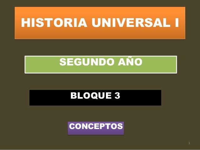 HISTORIA UNIVERSAL I SEGUNDO AÑO BLOQUE 3 CONCEPTOS 1
