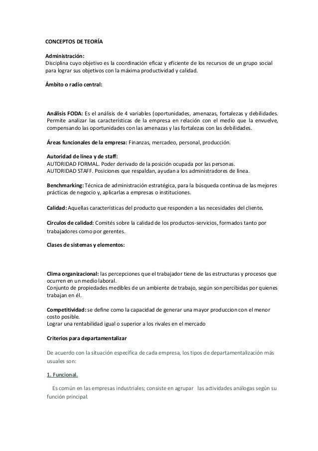 CONCEPTOS DE TEORÍAAdministración:Disciplina cuyo objetivo es la coordinación eficaz y eficiente de los recursos de un gru...