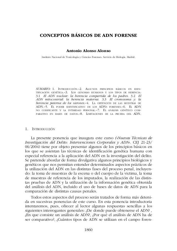 CONCEPTOS BÁSICOS DE ADN FORENSE                               Antonio Alonso Alonso         Instituto Nacional de Toxicol...