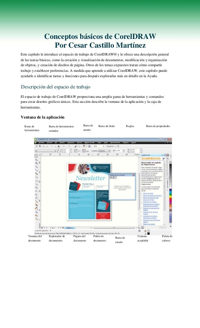 Conceptos básicos de CorelDRAW Por Cesar Castillo Martínez Este capítulo le introduce al espacio de trabajo de CorelDRAW® ...