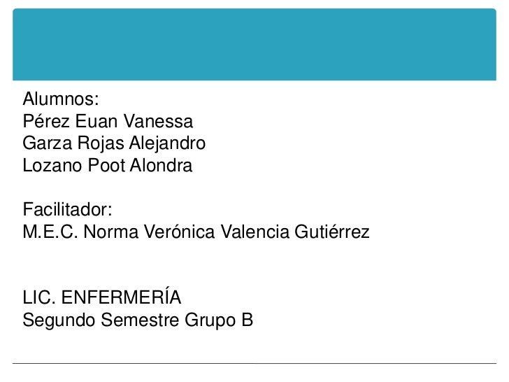 Alumnos:Pérez Euan VanessaGarza Rojas AlejandroLozano Poot AlondraFacilitador:M.E.C. Norma Verónica Valencia GutiérrezLIC....