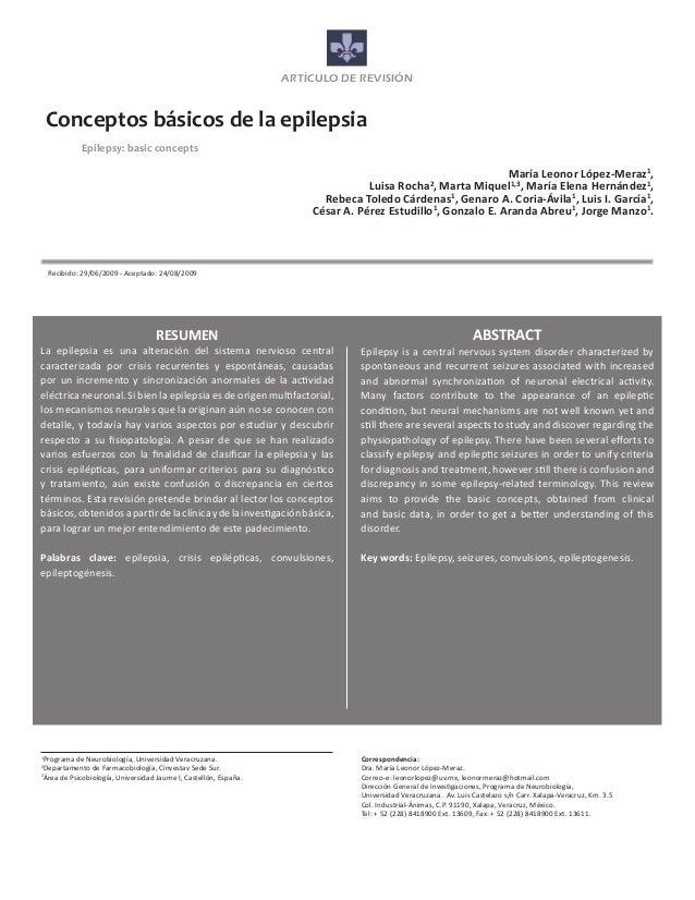 ARTÍCULO DE REVISIÓN    Conceptos básicos de la epilepsia            Epilepsy: basic concepts                           ...