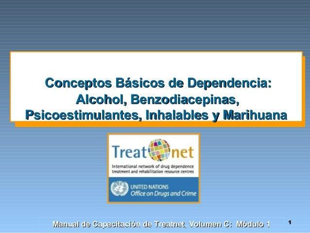 Conceptos Básicos de Dependencia: Alcohol, Benzodiacepinas, Psicoestimulantes, Inhalables y Marihuana  Manual de Capacitac...