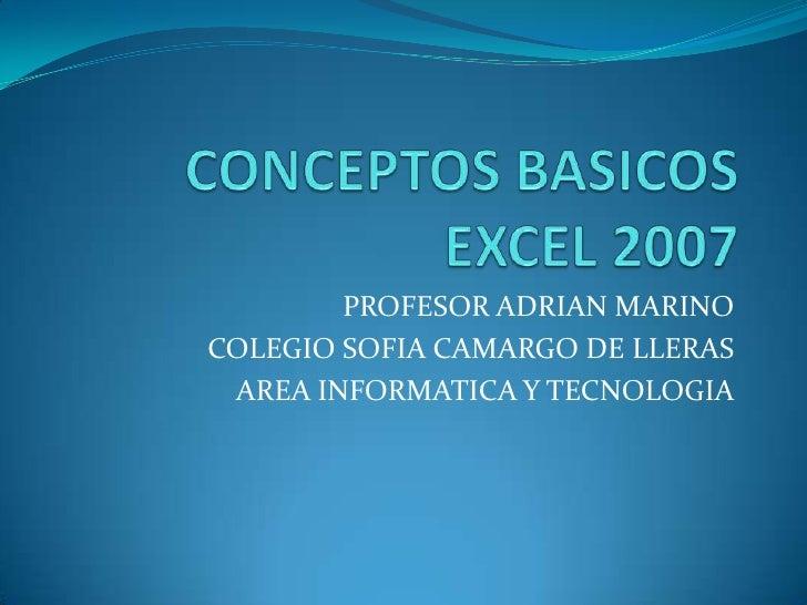 PROFESOR ADRIAN MARINOCOLEGIO SOFIA CAMARGO DE LLERAS AREA INFORMATICA Y TECNOLOGIA