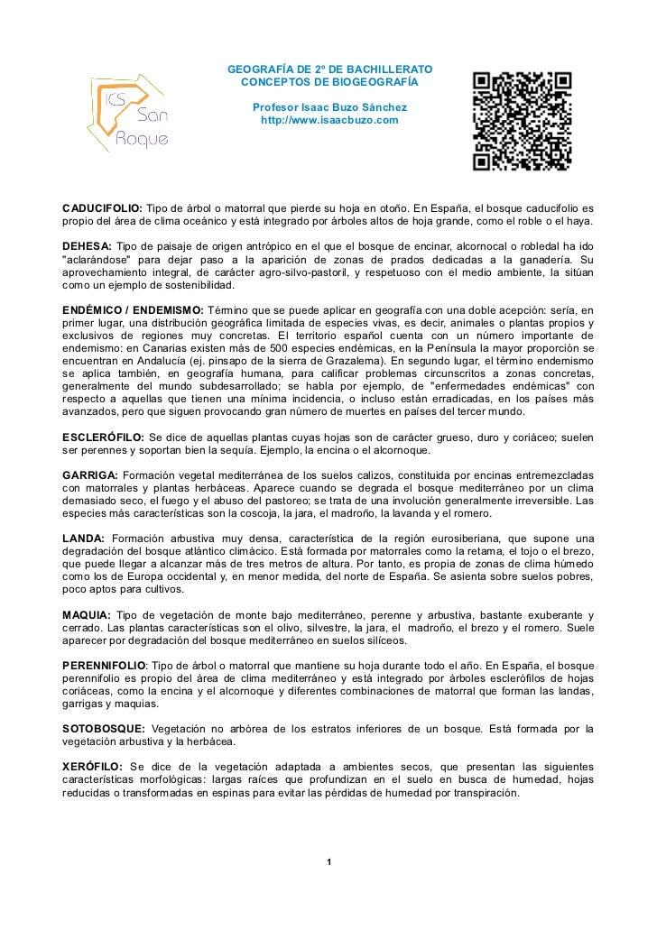 GEOGRAFÍA DE 2º DE BACHILLERATO                                    CONCEPTOS DE BIOGEOGRAFÍA                              ...