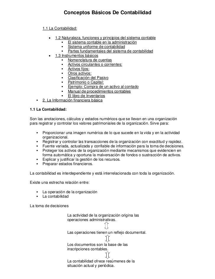 Conceptos Básicos De Contabilidad       1.1 La Contabilidad:               1.2 Naturaleza, funciones y principios del sist...