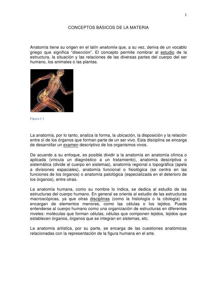 1                     CONCEPTOS BÁSICOS DE LA MATERIAAnatomía tiene su origen en el latín anatomĭa que, a su vez, deriva d...