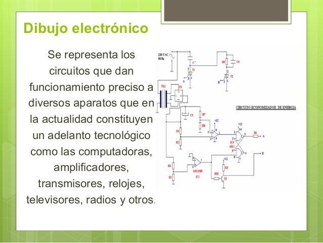 Dibujo electrónico Se representa los circuitos que dan funcionamiento preciso a diversos aparatos que en la actualidad con...