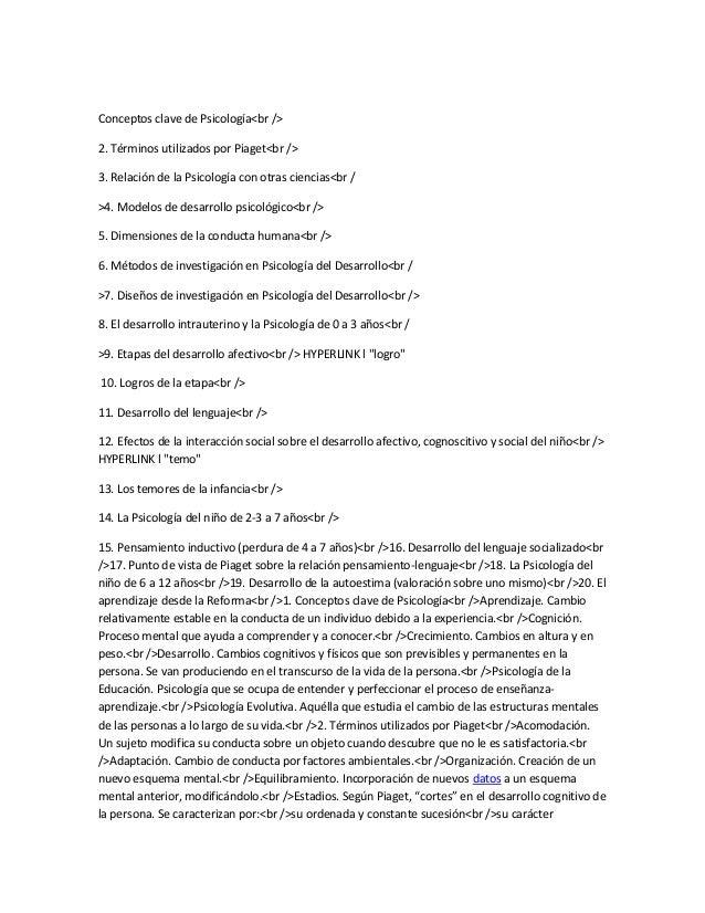 Conceptos clave de Psicología<br />2. Términos utilizados por Piaget<br />3. Relación de la Psicología con otras ciencias<...