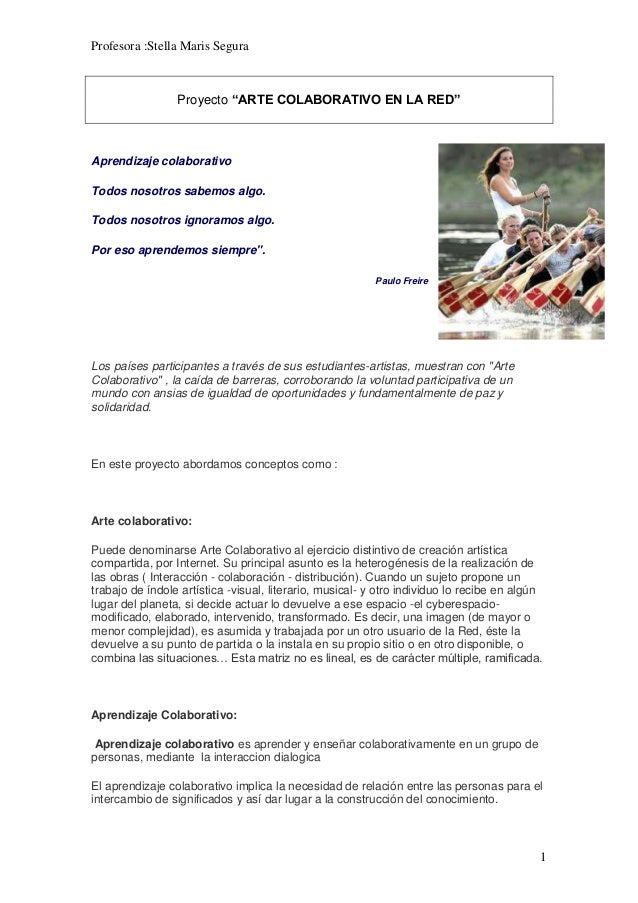 """Profesora :Stella Maris Segura 1 Proyecto """"ARTE COLABORATIVO EN LA RED"""" Aprendizaje colaborativo Todos nosotros sabemos al..."""