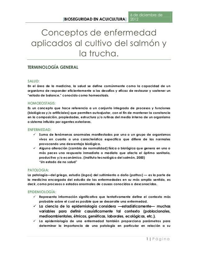 6 de diciembre de                      [BIOSEGURIDAD EN ACUICULTURA] 2012    Conceptos de enfermedad  aplicados al cultivo...