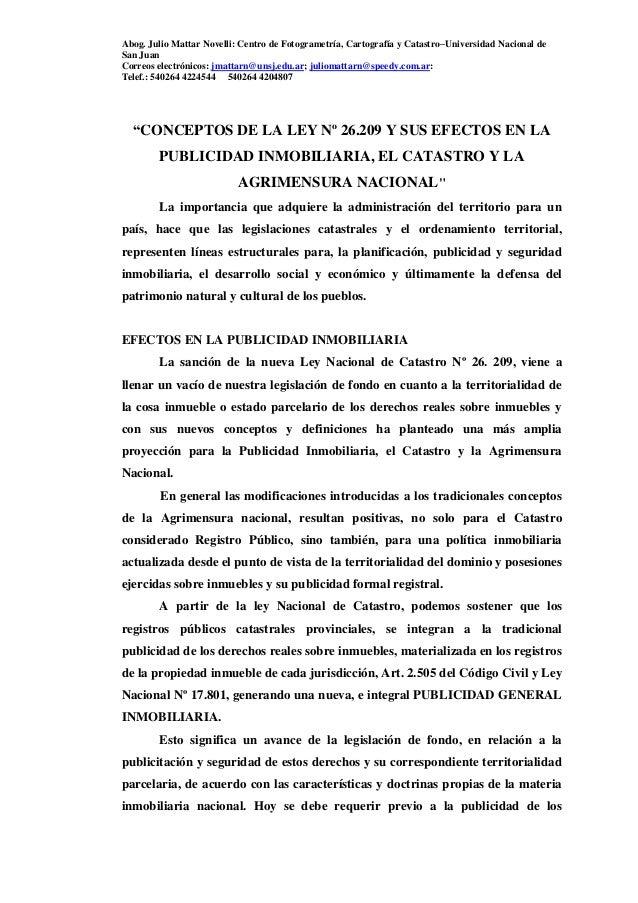 Abog. Julio Mattar Novelli: Centro de Fotogrametría, Cartografía y Catastro–Universidad Nacional de San Juan Correos elect...