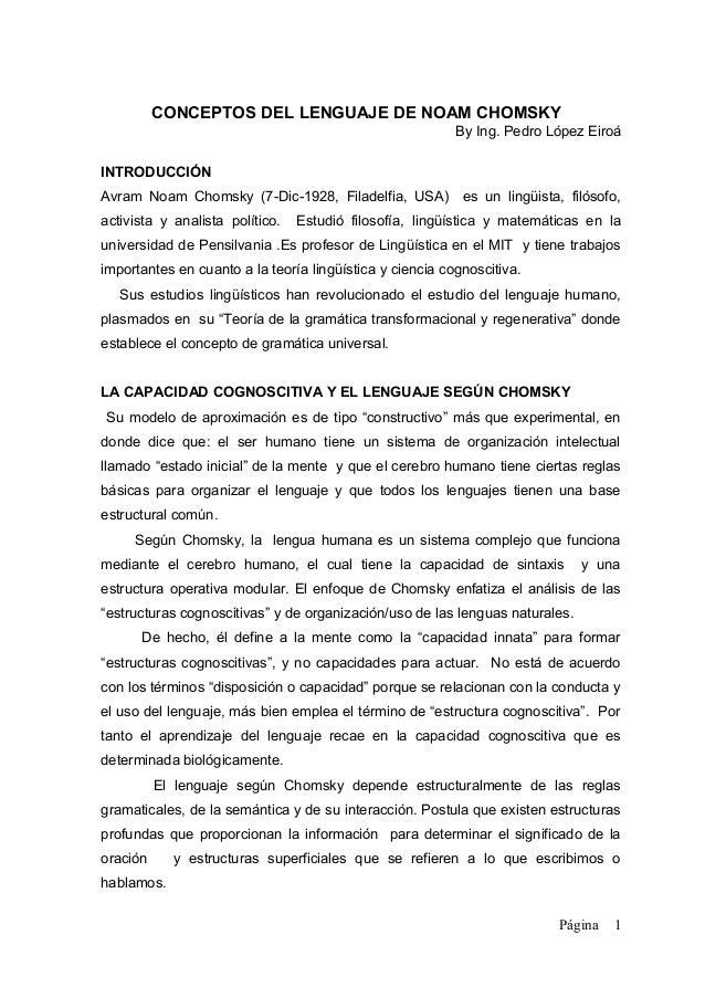CONCEPTOS DEL LENGUAJE DE NOAM CHOMSKY                                                          By Ing. Pedro López EiroáI...