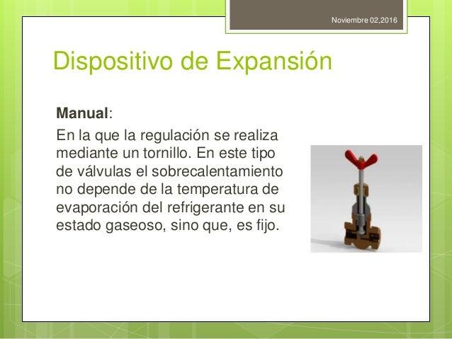 Dispositivo de Expansión Manual: En la que la regulación se realiza mediante un tornillo. En este tipo de válvulas el sobr...
