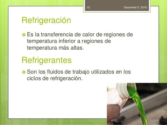Refrigeración Refrigerantes  Es la transferencia de calor de regiones de temperatura inferior a regiones de temperatura m...