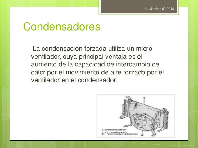 Condensadores La condensación forzada utiliza un micro ventilador, cuya principal ventaja es el aumento de la capacidad de...