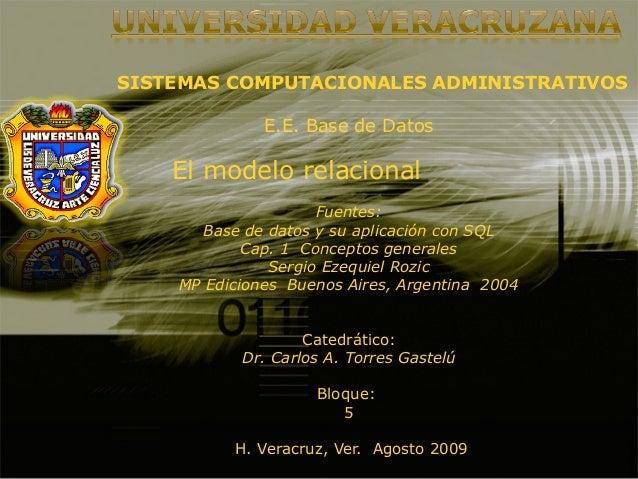 SISTEMAS COMPUTACIONALES ADMINISTRATIVOS E.E. Base de Datos El modelo relacional Fuentes: Base de datos y su aplicación co...