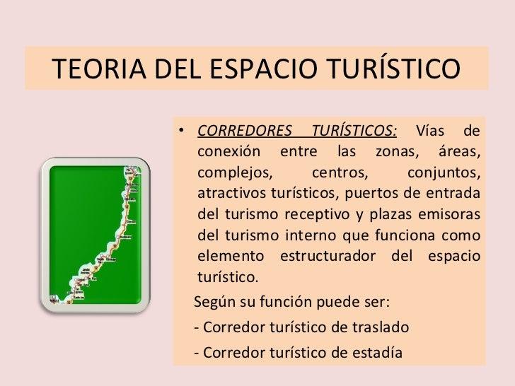 TEORIA DEL ESPACIO TURÍSTICO <ul><li>CORREDORES TURÍSTICOS:   Vías de conexión entre las zonas, áreas, complejos, centros,...
