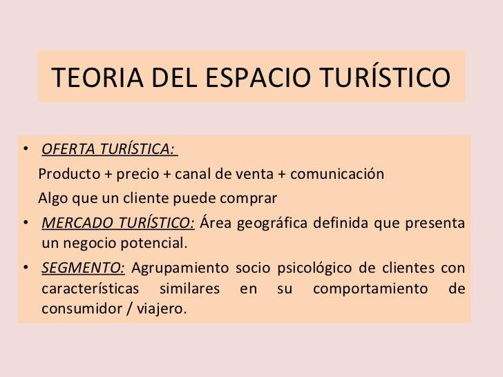 TEORIA DEL ESPACIO TURÍSTICO <ul><li>OFERTA TURÍSTICA:  </li></ul><ul><li>Producto + precio + canal de venta + comunicació...